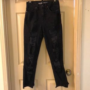 Mossimo destroyed black mom jeans
